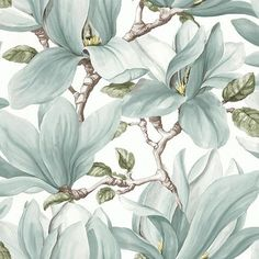 The wallpaper Nature - botanical inspiration - 3521 from Decor Maison is a wallpaper with the dimensions x m. The wallpaper Nature - botanical inspira Art Nouveau Wallpaper, Wallpaper Decor, Home Wallpaper, Fabric Wallpaper, Nature Wallpaper, Magnolia Wallpaper, Botanical Wallpaper, Flor Magnolia, Molduras Vintage