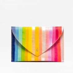 Handmade and hand painted leather accessories by Lillian Farag Color Of The Day, Painting Leather, Envelope Clutch, Over The Rainbow, Surface Design, Color Change, Iridescent, Stripes, Hand Painted