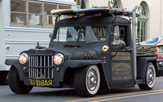 Willys pickup, ratted, dropped, surfed out, matte black