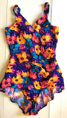 b6f4f627bf286 LkNew LL Bean Size 18 Made in USA Floral Swim Beach One piece Swimsuit