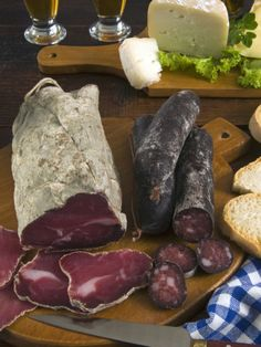Motsetta (Mocetta), Chamois/Beef Meat, Boudin Sausages, Goat Cheese, Italy