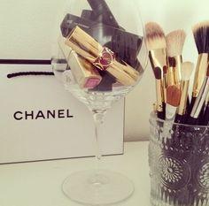chanel. lipsticks in a wine glass. cute.