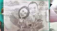 All about us... Rose full of skies, our memories that we pass together,  #caricature  Pencil on paper