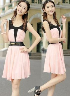 Color-Blocked Chiffon Dress with Belt,  Dress, chiffon dress  belted dress  color-blocked dress, Chic
