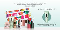 Clinique gift with purchase - 7 pcs with $29.5 purchase + more