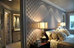 Checkerboard grasscloth wallpaper at Portland Street of Dreams, via House of Fifty blog