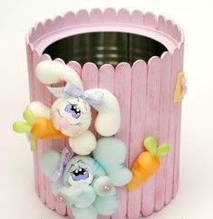 Popsicle Sticks and Tin Can Easter Tin Can Crafts, Jar Crafts, Easter Crafts, Diy And Crafts, Craft Projects, Crafts For Kids, Arts And Crafts, Popsicle Stick Crafts, Craft Stick Crafts