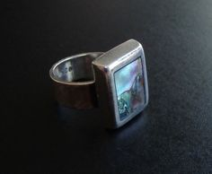 Vintage Taxco 925 Sterling Silver Abalone Modern Ring Sz-8.25 8mm RS313 #Band