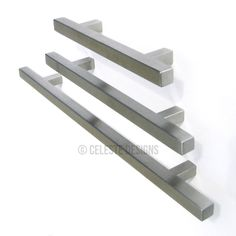 Pi Square Bar Pulls, Modern Trendy Cabinet Hardware, Stainless Steel