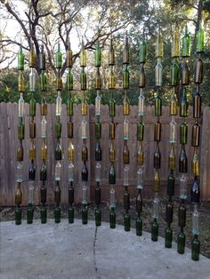 So proud of the wine bottle fence we made!!!