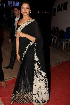 Deepika-Padukone-Hot-in-Black-Transparent-Saree-Pics-Photos