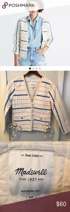 "Madewell Quilted Side-tie jacket sz XXS su 17 nice Excellent condition! No flaws!!  Chest: 34"" Sleeve from armpit: 15.5"" Length from neck down center of back: 20.5"" Madewell Jackets & Coats Blazers"