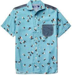Junya WatanabeCotton-Chambray Trimmed Printed Woven Shirt