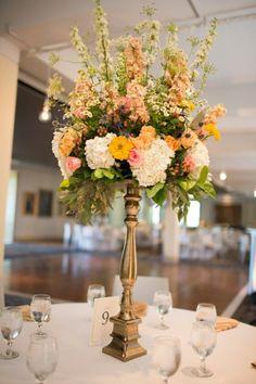 Tall yellow and blush centerpiece | Romantic Navy & Blush Oklahoma Wedding via TheELD.com