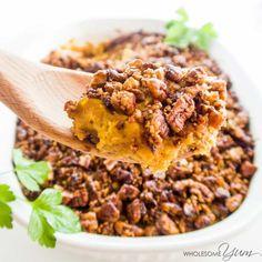This butternut squash cauliflower casserole (healthy low carb sweet potato casserole) tastes like sweet potatoes, but is sugar-free, paleo, keto & whole 30.