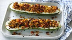 Chorizo and couscous stuffed marrow recipe - BBC Food Chorizo, Stuffed Marrow, Marrow Recipe, Good Food, Yummy Food, Cooking Recipes, Vegetable Recipes, Vegetarian Recipes, Cooking Stuff