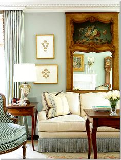 Trumeau mirror Idea; Bed room colours / sitting area sofa & chair colour