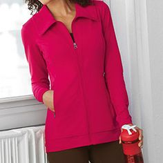HIGH COLLAR JACKET The perfect warm up jacket to wear on the way to pilates or your favourite boot camp.  Matches perfectly with our workout tanks and pants.  Available FALL 2013 with an improved zipper and colours Black, Black Coffee, Plum and Cranberry. www.myjockeyp2p.ca/jockeymom http://www.pinterest.com/musicaldream/fall-style/