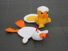 Crochet Pattern Coaster Turkey or Chicken Haakpatroon by wolgeit, $3.55