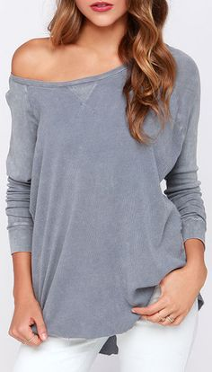 Grey Long Sleeve Top...Off the shoulder!