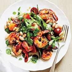 Herbed Shrimp and White Bean Salad Recipe-- currently eating for lunch and it is fantastic