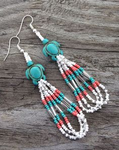 """nice Native American Style 3"""" Turtle White Turquoise Coral Silver Beaded Earrings by post_link"""