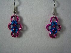 Japanese Cross Earrings in pink and turquoise by TheveninJewelry, $10.00
