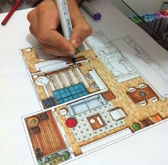 painting my interior design project. Thanks my love for helping me. Interior Design Renderings, Drawing Interior, Interior Rendering, Interior Sketch, Floor Plan Rendering, Architecture Sketchbook, Art And Architecture, Sketch Design, Design Design