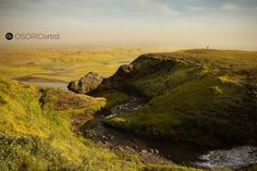 Panoramic view with river in southern Iceland