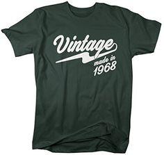 Shirts By Sarah Men's Vintage Made In 1968 T-Shirt Retro Birthday Shirts