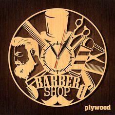 Barber shop decor Gift for hairdresser Barber gifts Barber Anniversary Gifts For Him, Wedding Anniversary, Unique Gifts, Great Gifts, Handmade Gifts, Barber Gifts, Barber Shop Decor, Wooden Clock, Halloween Christmas