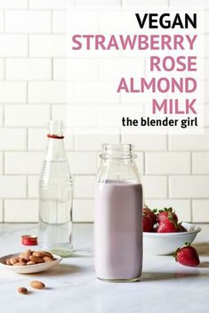 This vegan strawberry rose almond milk is my latest obsession. I cannot stop drinking it. It is just utterly divine, and so easy to make. #theblendergirl #veganstrawberryrosealmondmilk #almondmilkrecipe #almondmilk #strawberry #vegan