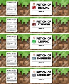 Free Printable Minecraft Birthday Party Bottle Labels. Print, cut out and stick to cups or bottles. Printable Minecraft Birthday Party Bottle Labels are the perfect addition to any Minecraft birthday party!