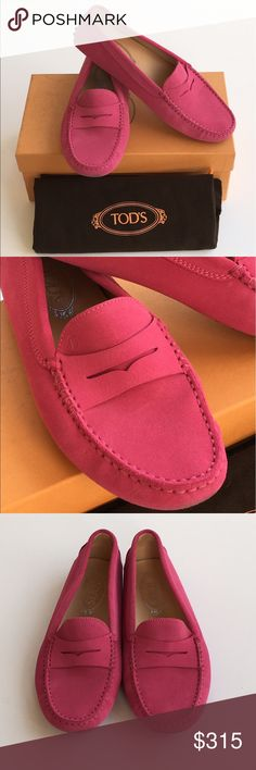 Tod's woman shoes Tod's shoes in hot pink suede with exposed hand stitching and iconic pebble outsole. Tod's Shoes Flats & Loafers