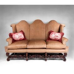 19th C. Charles II Triple Arched Back Settee or Sofa, Flemish Carved Base