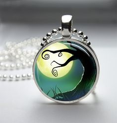 Moon Necklace Moon Pendant Moon Jewelry Glass Bezel Art Photo Pendant via Etsy