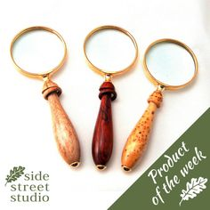 Product of the week: *Magnifying Glass* Nanaimo based Micro Woodturner Wray Parsons uses 4 types of wood including: African Zebrano (Zebra-wood), Pacific Yew, Yellow Cedar Burl & Cocobolo Rosewood to make a range of instruments for needlecraft Artists. These high quality heritage items are designed to be family heirlooms, passed from generation to generation.  See more > http://www.sidestreetstudio.com/search?q=magnifying