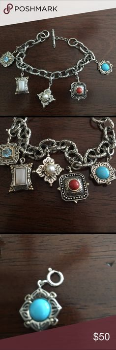 Sterling Silver Charm Bracelet Removable Charm Bracelet. REAL Mother of Pearl, Pearl, Blue Topaz, Carnelian, Blue Lapis. Will fit medium wrist Jewelry Bracelets