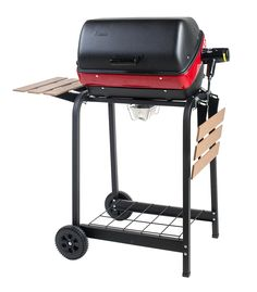 Americana Satin Black Electric Grill at Lowe's. Americana electric cart grill with two folding, composite-wood side tables and wire shelf. Best Electric Grill, Outdoor Electric Grill, Indoor Grill, Electric Grills, Gas Grills On Sale, Best Gas Grills, Gas And Charcoal Grill, Wire Shelving, Heating Element