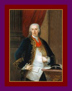 JOHN V, KING OF PORTUGAL IN OLD AGE ~1777 to 1786 Retrato de D. Pedro III co-ruler with his wife & niece, Dona Maria I.