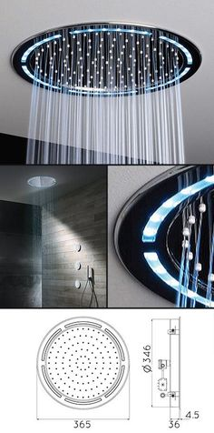 Round Ceiling Shower Head with Lights (78U)