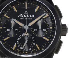 Alpina Full Black Alpiner 4 Manufacture Flyback Chronograph - dial detail - Perpetuelle