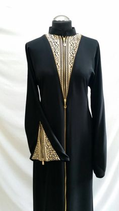 Collared abaya with thread embroidery on neck front and sleeves. New zip style top to bottom. Sizes 56 and Burqa Designs, Abaya Designs, Niqab Fashion, Muslim Fashion, Abaya Pattern, Black Abaya, Arabic Dress, Fantasy Gowns, Modest Outfits