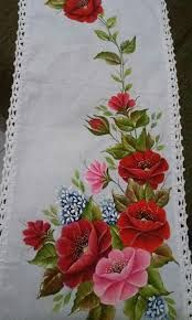 Imagem relacionada One Stroke Painting, Tole Painting, Fabric Painting, Ribbon Embroidery, Embroidery Patterns, Machine Embroidery, Bed Sheet Painting Design, Pinterest Pinturas, Fabric Paint Designs