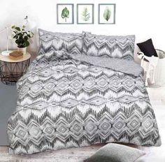 Zig Zag Printed Grey Duvet Quilt Cover Set — Linens Range
