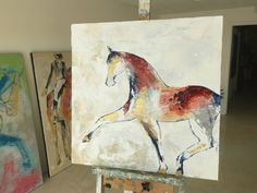 Horse painting canvas painting Original fine art  by lizwiley