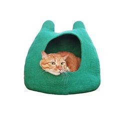 Pawyep Cats House Handmade Cat Bed Natural Wool Felt Comfy Cave for All Cats and Small Dogs Machine Washable (Green) Pawyep™