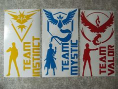 Custom Pokemon Go Team Decal pack Fan art Instinct Mystic Valor Spark Blanche Candela die cut stickers your choice Zapdos Articuno Moltres by ConvertThis on Etsy https://www.etsy.com/listing/452594074/custom-pokemon-go-team-decal-pack-fan