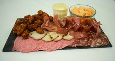 Mother's Day Starter Sharing Platters:  Meat - Parma Ham, Salami, Popcorn Chilli Chicken, Char Sui Pork Loin, Melon Chunks and Garlic and Herb Mayo  #LondonClubFood