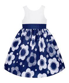 White & Navy Floral Skirt Dress & Bloomers - Infant by American Princess Toddler Girl Dresses, Little Girl Dresses, Girls Dresses, Toddler Girls, Flower Dresses, Cute Dresses, Frock Patterns, Moda Kids, Frocks For Girls